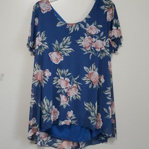 Avenue Blue Floral Short Sleeve Blouse PLUS 18/20